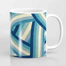 Vintage Faded 70's Style Blue Rainbow Stripes Coffee Mug