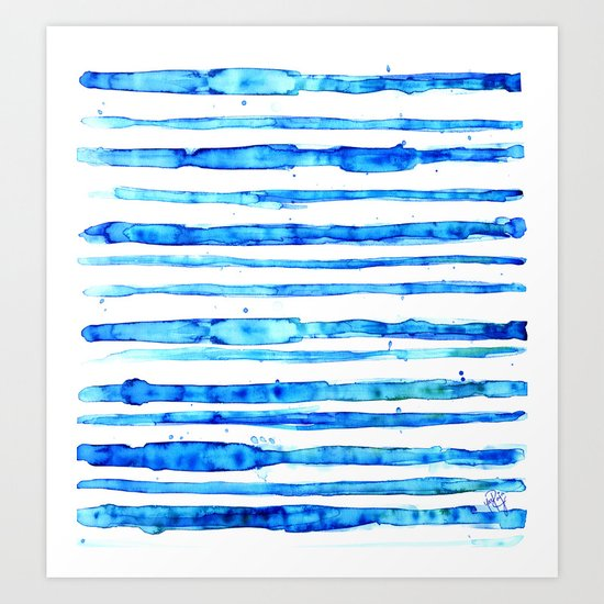 Blue Ink Stains Art Print