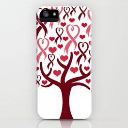 Blossoming Awareness Ribbon Heart Tree iPhone Case