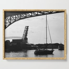 """""""Cleveland Flats Bridge"""" Photography by Willowcatdesigns Serving Tray"""