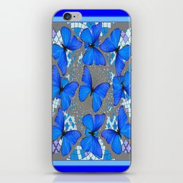Decorative Blue Shades Butterfly Grey Pattern Art iPhone Skin