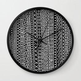 Black white hand painted geometrical aztec pattern Wall Clock