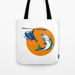 Barramundi Heli Fishing Sun Retro Tote Bag