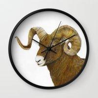 ram Wall Clocks featuring Ram by Jan Elizabeth