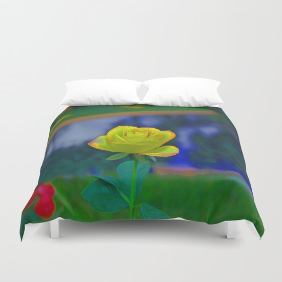 Yellow Colorful Rose Duvet Cover