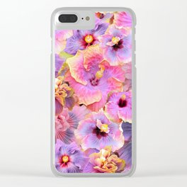 Tropical hibiscus patterns Flower Floral Flowers Clear iPhone Case