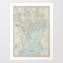 Vintage Map of New Haven Connecticut (1901) Art Print