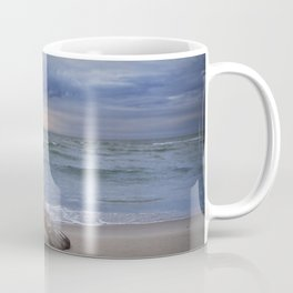 Sunrise on the Beach with Driftwood at Oscoda Michigan Coffee Mug