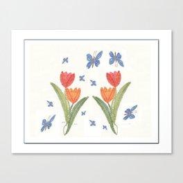 Tulipes et papillon en dentelle Canvas Print