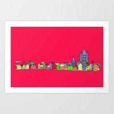 Sketchy Town in pink Art Print