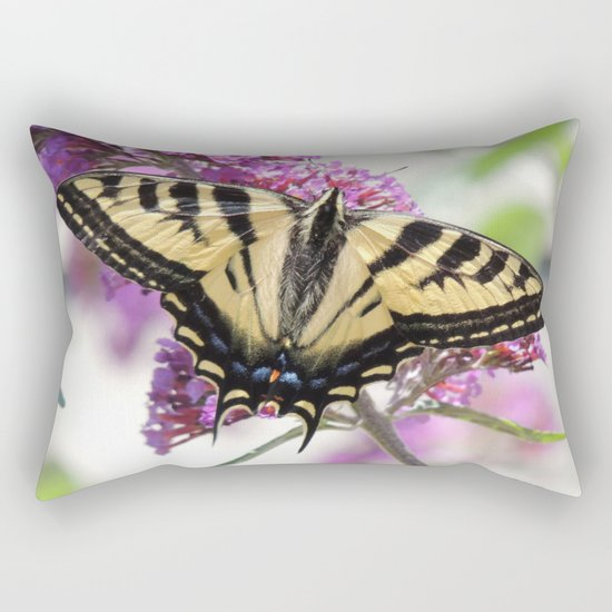 Western Tiger Swallowtail on the Neighbor's Butterfly Bush Rectangular Pillow