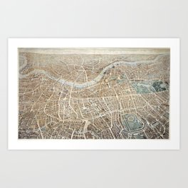 Vintage Pictorial Map of London (1851) Art Print
