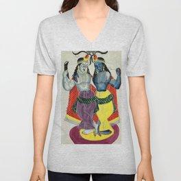 Balarama and Krishna - Vintage Indian Art Print Unisex V-Neck