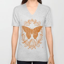 Country Acorn Butterfly  Unisex V-Neck