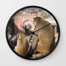 Monkeys near Galta Gate, Jaipur, India Wall Clock