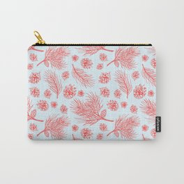 Pine Cones and Pine Branches Pattern (Light Blue and Red) Carry-All Pouch