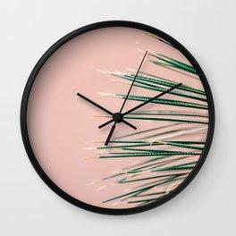 Green on Coral | Botanical modern photography print | Tropical vibe art Wall Clock