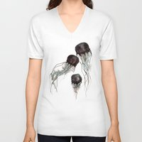 jellyfish V-neck T-shirts featuring Jellyfish by Hana Robinson