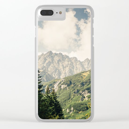 Green Summer Mountains Clear iPhone Case