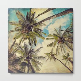 Vintage Blue Hawaii Palm Trees Metal Print