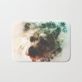 Cairn Terrier Digital Watercolor Painting Bath Mat