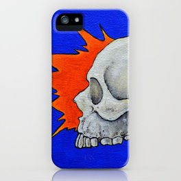 Blue skull, oil comic skull painting, NYC artist iPhone Case