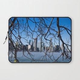 Chicago Skyline Through Nature's Hands Laptop Sleeve