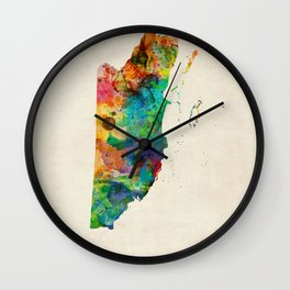 Belize Watercolor Map Wall Clock