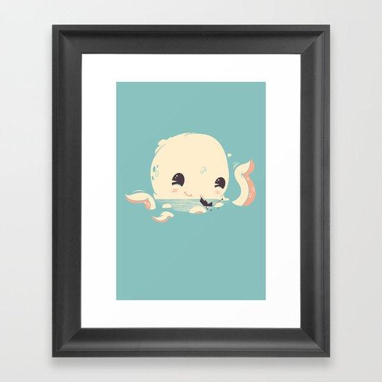 Adorable Octopus Battle Framed Art Print