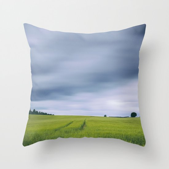 Clouds moving above field of barley. Hilborough, Norfolk, UK. Throw Pillow
