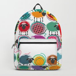Bright Sheep and Yarn Pattern Backpack