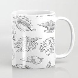 collection of sea shells, black contour on white background Coffee Mug