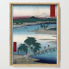 Hiroshige - 36 Views of Mount Fuji (1858) - 13: The Tama River in Musashi Province Serving Tray