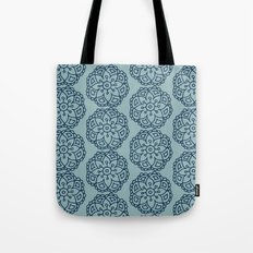 Navy blue lace floral Tote Bag
