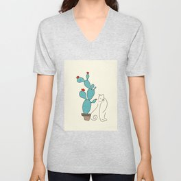 cat cactus cattus Unisex V-Neck