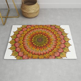 Sunset Golden Flower Mandala Colored Pencil Illustration by Imaginarium Creative Studios Rug