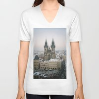 prague V-neck T-shirts featuring Prague by BriAnneWills