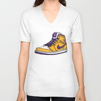lakers V-neck T-shirts featuring Jordan 1 mid (LA Lakers) by Pancho the Macho