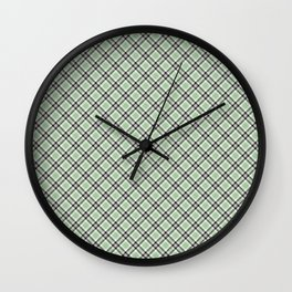 Green Checkered Pattern Wall Clock