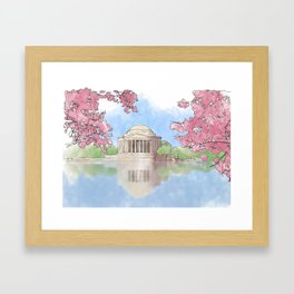 Cherry Blossom - Jefferson Memorial Framed Art Print