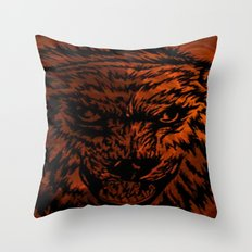 angry wolf fire Throw Pillow