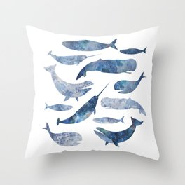 Whales, whale art, whale painting, whale wall art, watercolour whales, ocean Throw Pillow