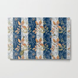 Tomatoes leaves in coral and blue stripes Pantone palette Metal Print