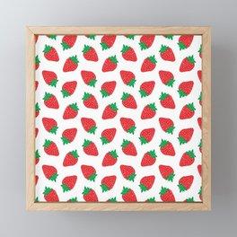 Cream Strawberries Pattern Framed Mini Art Print