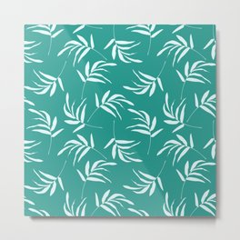 Teal leaves and branches pattern Metal Print