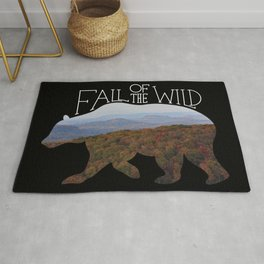 Fall of the Wild Autumn Mountain Wilderness Landscape Bear Silhouette Black Rug