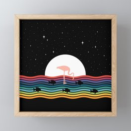 Colorful Flamingo Starry Night Framed Mini Art Print