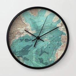 Vintage Green Transatlantic Mapping Wall Clock