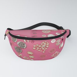 Vintage with a Smile - Pink Vintage Buttons Fanny Pack