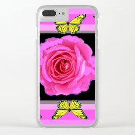Lavender Fuchsia Pink Rose Butterfly Art Clear iPhone Case